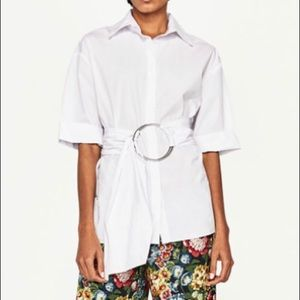 New* Zara poplin shirt with round buckle